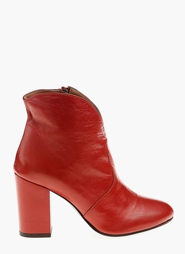 Divarese Kalın Topuklu Deri Bot Kırmızı